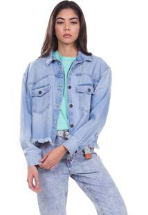 Camisa Jeans Levis Feminino Long Sleeve Addison Clara Azul
