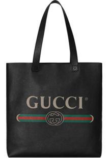 Gucci Bolsa Tote De Couro Com Estampa Gucci - Preto