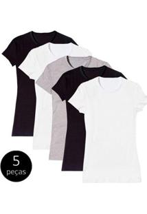 Kit Com 5 Camiseta Baby Look Básica Part.B Gola Redonda Colors Feminina - Feminino-Branco+Preto