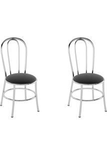 Kit 2 Cadeiras Pc01 Assento Nobuck Preto - Pozza
