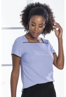 Blusa Em Tecido Com Decote Quadrado Roxo