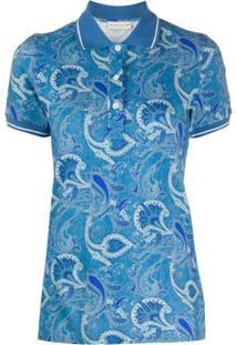 Etro Short Sleeve Floral-Print Polo Shirt - Azul