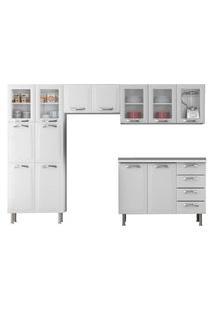 Cozinha Modulada Itatiaia Móveis Premium Com Tampo Branco Neve