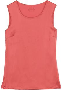 Blusa Em Seda E Modal Decote Redondo E Alã§As Largas Intimissimi Seda E Modal Laranja - Laranja - Feminino - Dafiti