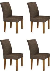 Conjunto Com 4 Cadeiras Olímpia Imbuia Mel E Linho Marrom