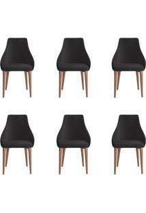 Conjunto Com 6 Cadeiras De Jantar Evelyn Preto
