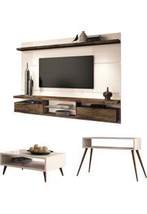 Painel Tv Livin 2.2 Com Mesa De Centro Lucy E Aparador Quad Off White/Deck - Hb Móveis