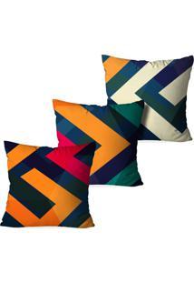 Kit 3 Capas Love Decor Para Almofadas Decorativas Linhas Geométricas Multicolorido Laranja - Kanui