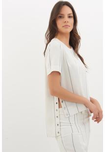 Camiseta Le Lis Blanc Fernanda Eyelets 2 Listrado Feminina (Glace With Dark Blue Stripes, G)