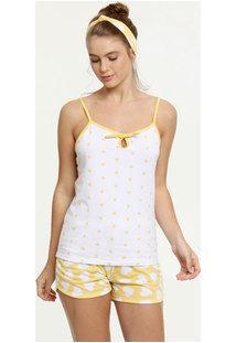 Pijama Feminino Estampa Corações Alças Finas Brinde Marisa
