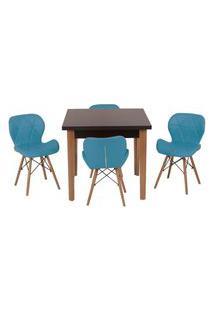 Conjunto Mesa De Jantar Luiza 80Cm Preta Com 4 Cadeiras Slim - Turquesa