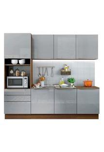 Cozinha Completa Madesa Lux Com Armário E Balcão 7 Portas 3 Gavetas Rustic/Cinza Rustic