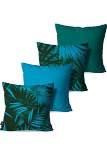 Kit Com 4 Capas Para Almofadas Pump Up Decorativas Folhas Azuis E Verdes 45X45Cm