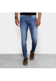 Calça Jeans Skinny Biotipo Com Puídos Masculina - Masculino-Jeans