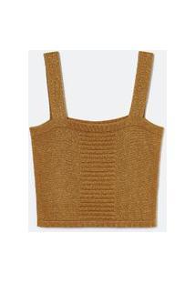 Blusa Cropped Alça Larga Em Tricô Com Pregas Frontais E Fio Metalizado | Blue Steel | Dourado | Gg