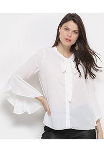 Camisa Facinelli Manga 3/4 Decote Amarração Botões Feminina - Feminino-Branco