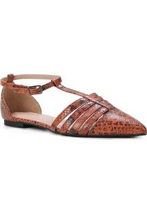 Sapatilha Couro Shoestock Salomé Cobra Feminina - Feminino