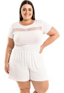 Macaquinho White Branco Miss Masy Plus