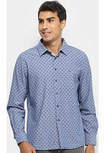 Camisa Yachtmaster Manga Longa Estampada Slim Masculina - Masculino-Azul