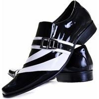 19cce1e86 Sapato Social Verniz Gofer Couro - Masculino-Preto+Branco