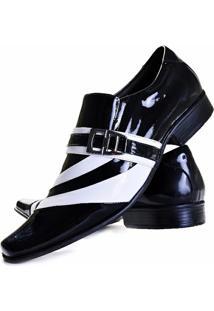 Sapato Social Verniz Gofer Couro - Masculino-Preto+Branco