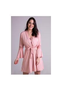 Robe Roupão Hobby Boyou Amarrar Pijama Dormir Lingerie 241 Rosa