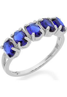 Anel Com Laterais Vazadas Composto Por Cristais Ovais Rommanel - Feminino-Azul
