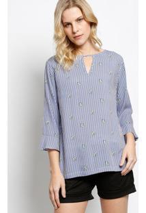 Blusa Listrada Com Botão - Azul & Brancavip Reserva