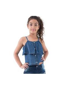 Bata Alça Babados Jeans Pull-Ga 14 Azul