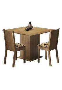 Conjunto Sala De Jantar Madesa Isa Mesa Tampo De Madeira Com 2 Cadeiras Rustic/Bege Marrom Rustic/Bege Marrom