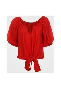 Blusa Feminina Ombro A Ombro Com Amarração - Vermelho M