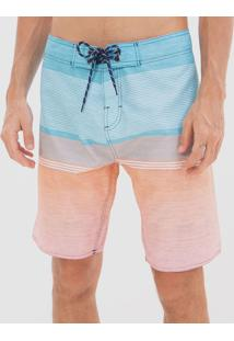 Bermuda Poliester Textura Fixo Azul E Rosa Fit 50Cm Bbf_0017