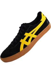 Tênis Couro Asics Vlb Masculino - Masculino-Preto+Amarelo