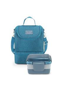 Conjunto De Bolsa Térmica Com Pote De Marmita De 2 Andares Jacki Design Azul