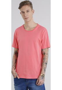 Camiseta Masculina Básica Manga Curta Gola Careca Coral