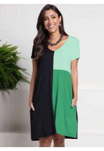 Vestido Preto E Verde Com Bolsos