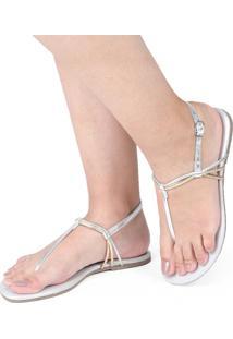 Sandália Rasteira Mercedita Shoes Metalizada Prata Tiras Prata Bronze Ultra Conforto