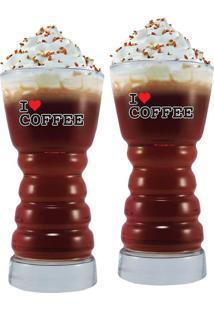 Conjunto Copos Barista G I Love Coffee 350Ml 2 Peças - Ruvolo Transparente