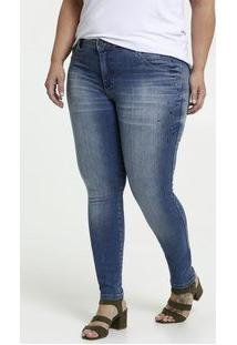 Calça Feminina Jeans Strass Skinny Plus Size Biotipo