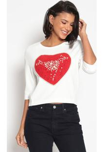 Blusa Com Bordado- Off White & Vermelhakwi