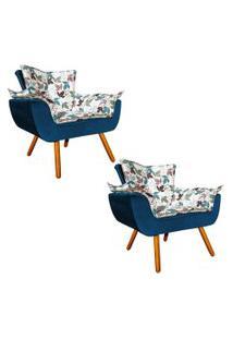 Kit 02 Poltrona Decorativa Opala Composê Estampado Floral D68 E Veludo Azul Marinho - D'Rossi