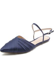 Sapatilha Dumond Chanel Cetim Azul-Marinho