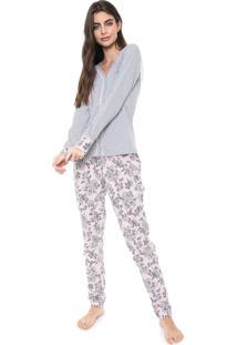 Pijama Bela Notte Floral Cinza/Rosa