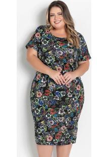 Vestido Midi Floral Com Fenda Plus Size