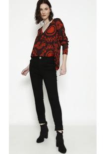 Blusa Com Recortes - Marrom Escuro & Vermelha - Lanã§Lanã§A Perfume