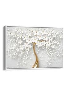 Quadro 60X90Cm Flores Cerejeiras Brancas E Dourada Canvas Moldura Flutuante Branca