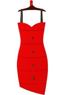 Cômoda 4 Gavetas Dress Maxima Cacau/Vermelho