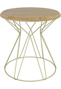 Mesa Lateral Cost Louro Freijo Base Gold 69Cm - 60269 - Sun House
