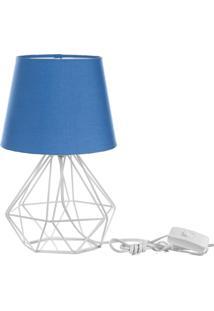 Abajur Diamante Dome Azul Com Aramado Branco - Azul - Dafiti