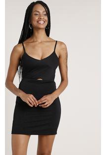 Vestido Feminino Curto Com Recorte E Lurex Alça Fina Preto